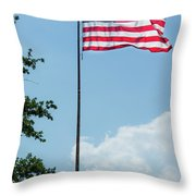 American Flag Flying Proud Throw Pillow