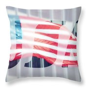 American Flag In Front Of Business Building  Throw Pillow