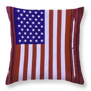 American Flag In Red Window Throw Pillow