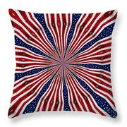 American Flag Kaleidoscope Abstract 6 Throw Pillow
