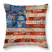 American Flag - Made From Vintage Recycled Pop Culture Usa Paper Product Wrappers Throw Pillow