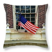 American Flag On An Old Building Throw Pillow