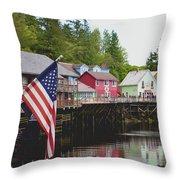 American Flag On Creek Street Ketchikan Alaska Throw Pillow
