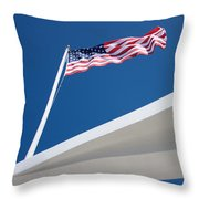 American Flag Over Pearl Harbor Throw Pillow