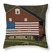 American Flag Painted On The Side Throw Pillow