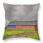 American Flag Proudly Displayed Throw Pillow