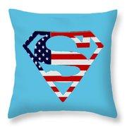 American Flag Superman Shield Throw Pillow