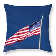 American Flag Waving In The Breeze Throw Pillow