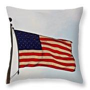 American Flag Waving Proudly- Fine Art Throw Pillow
