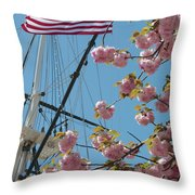 American Flag With Cherry Blossoms Throw Pillow