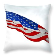 American Flag With Eagle Throw Pillow