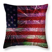 American Flag With Fireworks Display Throw Pillow