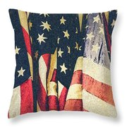 American Flags Painted Square Format Throw Pillow