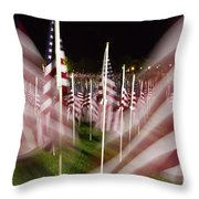 American Flags Tribute To 9-11 Throw Pillow