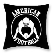 American Football Player With Ball And Helmet Throw Pillow