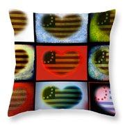 American Hearts Throw Pillow