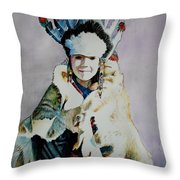 American Indian Girl Throw Pillow