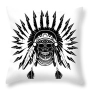 American Indian Skull Icon Background, Black And White  Throw Pillow
