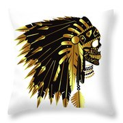 American Indian Skull Icon Background Throw Pillow