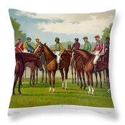 American Jockeys, 1889 Throw Pillow