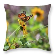 American Lady Butterfly By The Beach Throw Pillow