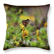 American Lady Butterfly Seaside Throw Pillow