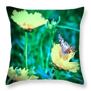 American Lady On Coreopsis Throw Pillow
