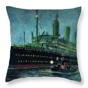 American Line, New York Throw Pillow