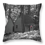American Little House In The Woods Throw Pillow
