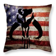 American Mandalorian Throw Pillow