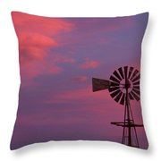 American Old Farm Water Pumping Windmill With A Sunset  Throw Pillow