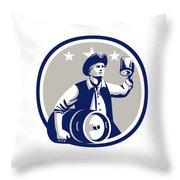 American Patriot Carry Beer Keg Circle Retro Throw Pillow