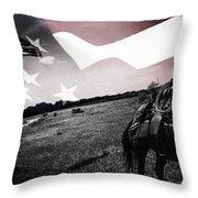 American Patriot -  Cowboy -girl Throw Pillow