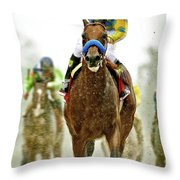 American Pharoah And Victor Espinoza Win The 2015 Preakness Stakes. Throw Pillow