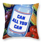 American Propaganda Poster Promoting Canned Food Throw Pillow