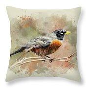 American Robin - Watercolor Art Throw Pillow