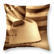 American Rodeo Cowboy Hat Throw Pillow