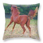 American Saddlebred Filly Throw Pillow