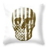 American Skull Beige Throw Pillow