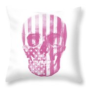 American Skull Pink Throw Pillow