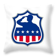 American Soldier Saluting Usa Flag Crest Icon Throw Pillow