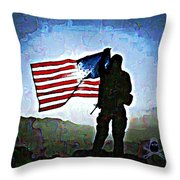American Soldier With Flag Throw Pillow