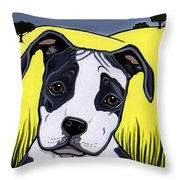 American Staffy Throw Pillow by Leanne Wilkes