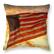 American Sunset On Fire Throw Pillow
