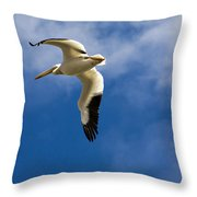 American White Pelican In Flight Throw Pillow