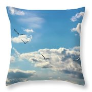 American White Pelicans Flying Throw Pillow