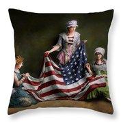 Americana - Flag - Birth Of The American Flag 1915 Throw Pillow