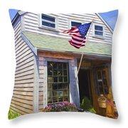 Bike And Usa Flag - Americana Series 04 Throw Pillow
