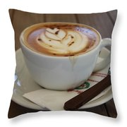 Americano Coffee With Tulip Design Throw Pillow