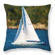 America's Cup 12 Meter Sailboat Newport Ri Throw Pillow